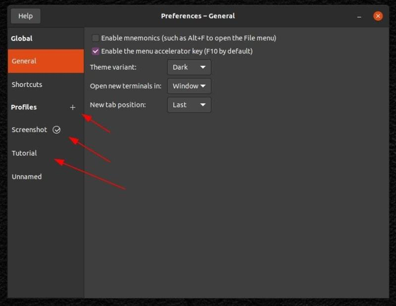 It is recommended to create a new Profile before configuring Terminal