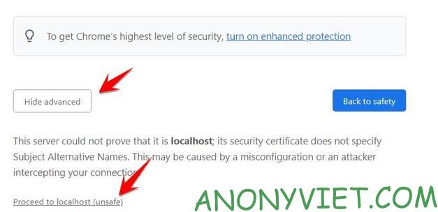 proceed to localhost