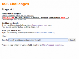 XSS Challenges by yamagata21