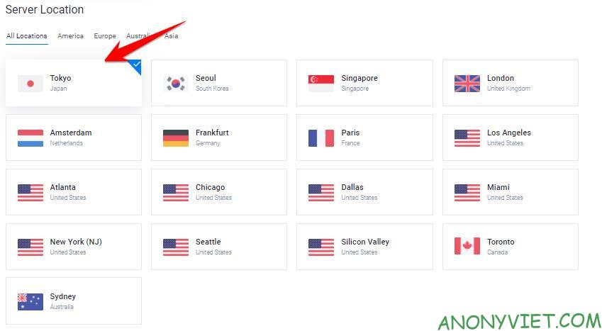 select location japan vultr